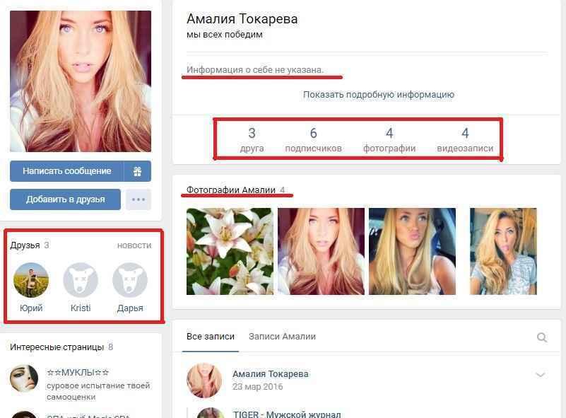 Пример странички в социальных сетях, которая создана для написания фейковых отзывов